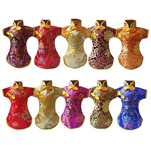 Zonfer Klassische Flaschenhülle Tang Kleid-Stickerei-weinflasche Abdeckung Home Bar Anti-rutsch-Flaschen-Abdeckung Küche Liefert 10pcs (zufällige Farbe)