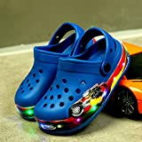 Chanclas Piscina Hombre,Zapatos Ligeros Led Zapatos para NiñOs Sandalias De Playa Zapatos De Playa Cambiar Color Light Glitter Halloween-Zafiro_25 Longitud De Zapato 14.5cm