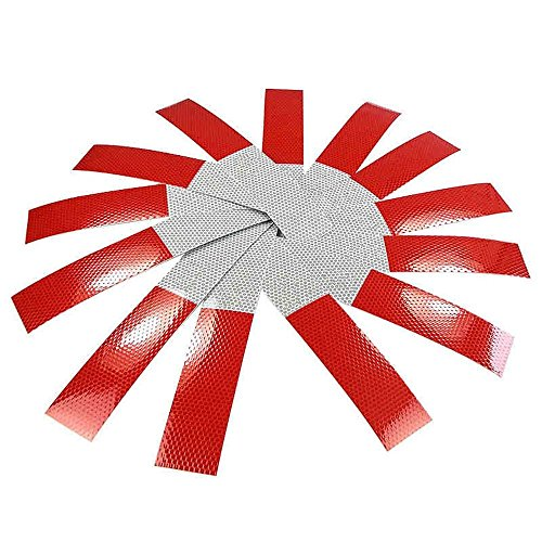 Anki DOT-C2 rood/wit reflecterende tape, 5 cm x 3 m, opvallende waarschuwingsstickers voor auto, vrachtwagen, aanhanger, brievenbus (rood/wit), 10 stuks