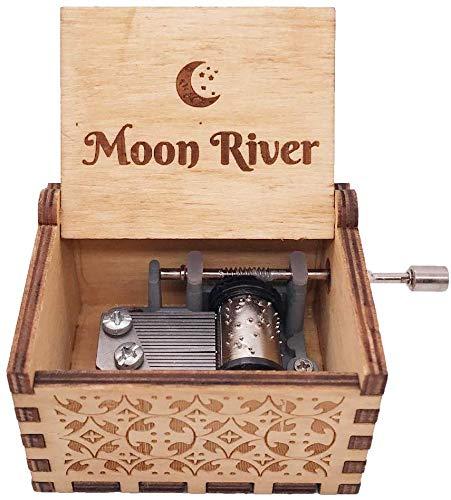 SIQI Moon River Caja de música de madera de manivela de 18 notas grabada antiguamente para Halloween, Navidad, cumpleaños, colecciones, decoración del hogar, reproduce luna y río