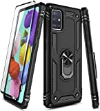 E-Began Case for Samsung Galaxy A71 5G with Tempered Glass Screen Protector, Magnetic Ring Holder, Full-Body Military Shockproof Protective Heavy Duty Armor Case [Not Fit A71 5G UW Verizon] -Black