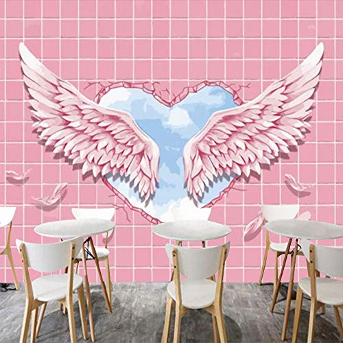 RTYUIHN 3D Wallpaper Mural 3D Stereo Angel Wings Dance Room Decoration Pink Feather Bedroom Living Room Modern Wall Art Decoration