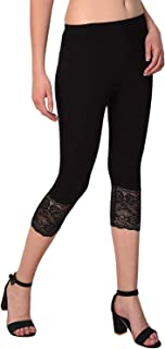 "Snowball Lace Capri for Women | Soft & Stretchable Capri Leggings for Women | 3/4 Capris for Women | Black Daily Use Capri Pants for Women | Fit for 26"" - 34"" inches Waist 