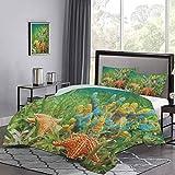 UNOSEKS LANZON - Juego de funda de edredón y funda de edredón con coloridas esponjas y estrellas de mar rodeado de seagrass ligero juego de funda de edredón suave y cómodo, multicolor, tamaño doble