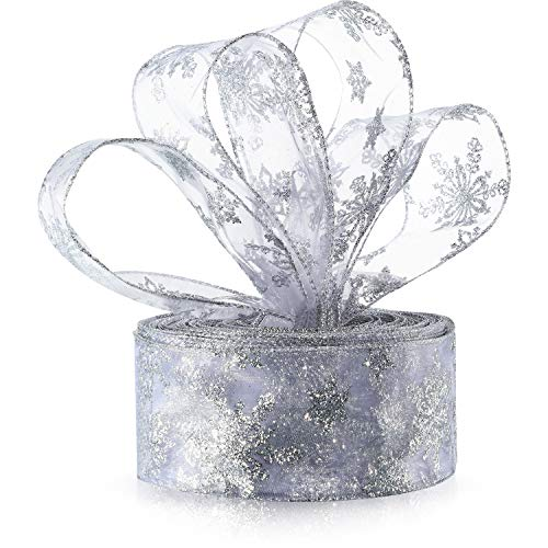 6.3 cm in Width Organza Ribbon Snowflake Wired Sheer Glitter Ribbon with Spool for Gift Wrapping, Christmas Party Decoration (Silver, 45 m)