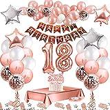 MMTX Palloncini Compleanno 18 Anni Oro Rosa Compleanno Decorazioni per Feste, Festone Buon Compleanno, 18 Anni Ragazza con Tovaglia, Palloncini in Lattice Stampati con coriandoli