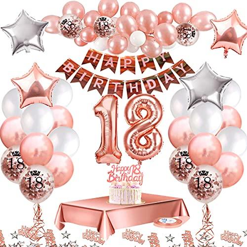 MMTX Ballons Anniversaires 18 ans Decoration Anniversaire kit, Or Rose Anniversaire Décorations pour Filles, Happy Birthday Ballon Bannière, Ballon Confetti Imprimé, Nappe Rose Gold Anniversaire