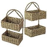 Conjunto 2 cesta de mimbre colgante de 2 niveles para pared,puerta,baño,...