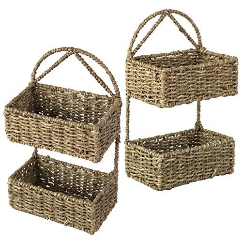 Conjunto 2 cesta de mimbre colgante de 2 niveles para pared,puerta,baño, decoración del hogar,Cesta de almacenamiento tejida a mano rústica para colgar en la pared,para juguetes,llaves,pequeñas cosas