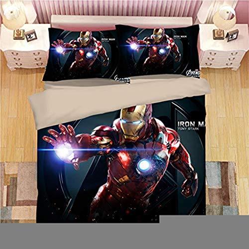 SSLLC Iron Man Bettwäsche 2/3-teilig Bettbezug The Avengers 3D-Motiv Bettbezug Cartoon für Kinder mit Reißverschluss, Mikrofaser, A09, 135X200CM