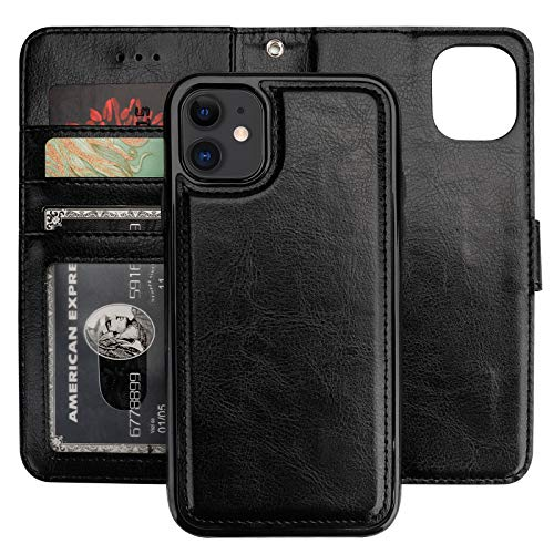 Bocasal iPhone 11 Wallet Case with Card Holder PU Leather Magnetic Detachable Kickstand Shockproof Wrist Strap Removable Flip Cover for iPhone 11 6.1 inch (Black)