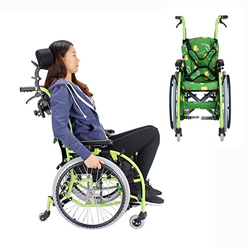 YH-LY Sedia a rotelle Pieghevole Super-Leggera, Deluxe Leggero ripiegamento semovente Sedia a rotelle Carrozzina Bambini a 6 Ruote, corrimano telescopico.