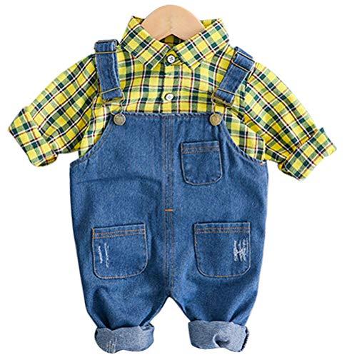 ARAUS Bambini Completini e Coordinati Camicia a Quadri + Salopette in Denim Primavera Abiti Set 2 Pezzi