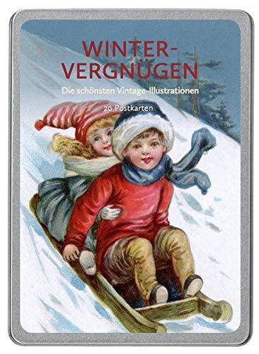 Winter Vergnügen: Die schönsten Vintage-Illustrationen, 20 Postkarten gedruckt auf Apfelpapier in einer hochwertigen Dose.