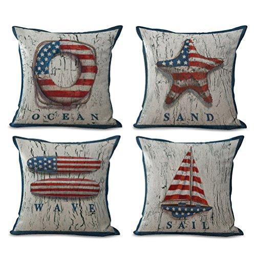 Stars & Stripes Beach Pillow Covers 4 Pack Cotton Linen Coastal Throw Pillowcases-Starfish-Wave--Sail- Ocean Theme Cushion Cover 18 x 18 inch (Sea-4)
