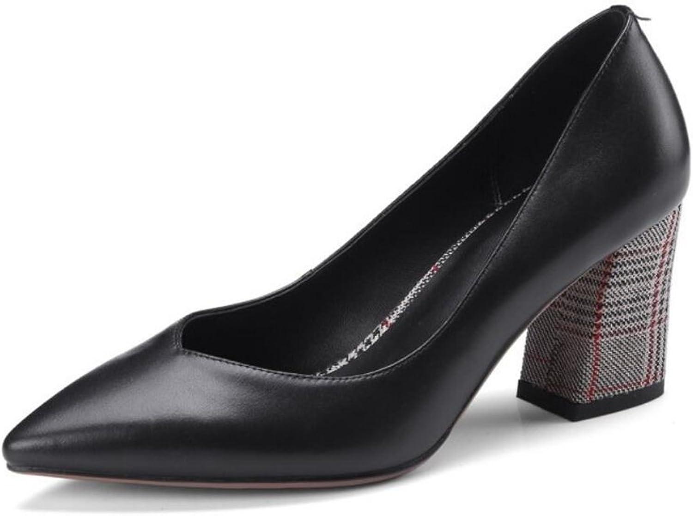 GAOLIXIA Damen Leder High Heels Damen Vier Jahreszeiten Spitzen Chunky High Heel Arbeitsschuhe Pumps Pumps Schwarz Grau  | Schön und charmant