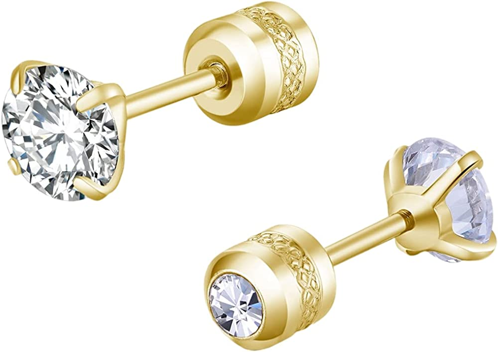 Stainless Steel Cash special price Small Size Department store Cubic Back Stud Zircon Screw Earrings