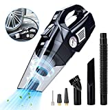 Car Vacuum Cleaner with Air Compressor 4 in 1 Multifunctional High Power 120W Air Compressor Tire inflator Handheld Car Vacuum High Power 5500PA Handheld Vacuum w/Light, 10 FT Power Cord, for Wet/Dry