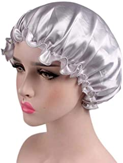 Niome Satin Hat for Sleeping Natural Hair Domed Satin Beauty Bonnet Cap Salon Hair Care Solid Color