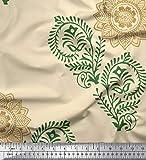 Soimoi Gelb Seide Stoff Paisley, Blätter und