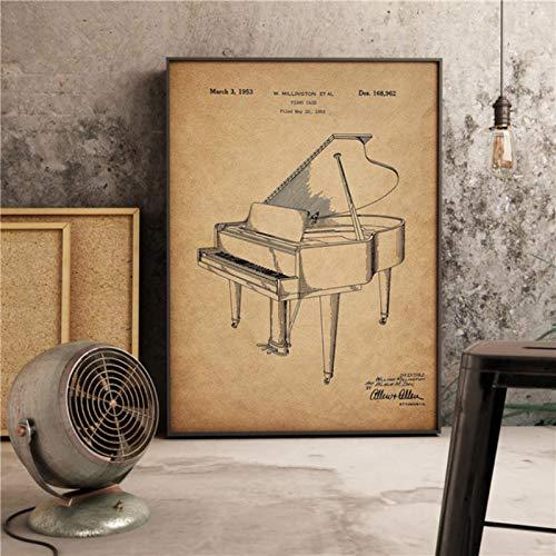 lubenwei Stampe per Pianoforte Vintage Steinway Decor Musica Arte Retro Soggiorno Pittura Decorazioni per la casa Vivaio Camera dei Bambini Poster su Tela 40x60cm Nessuna Cornice (WA-1303)