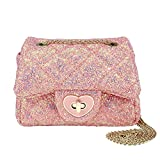 CMK Trendy Kids Glitter Toddler Purse for Girls Sparkly Quilted Little Girl Purses (80001_Chunky Pink), 15cm(L) x 7.5cm(W) x 9cm(H)