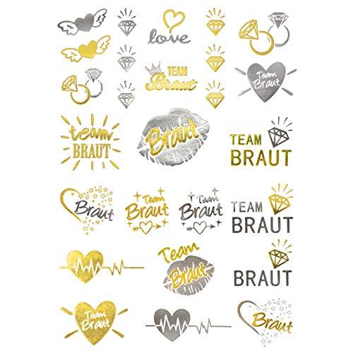 Oblique-Unique® Temporäre Klebetattoos JGA Junggesellinnenabschied Tattoo Set Braut - Team Braut Hochzeit Silber Gold
