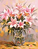 KSKD Pintura al óleo DIY para números para adultos dormitorio salón decoración aceite Kit de lienzo pintura para arte lirio rosa con cornice