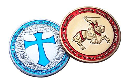 Eillwin Templar Set 2x Moneda Token Chapado en Oro & Plata Caballero FE Conmemorativa de la colección & Honor Presente