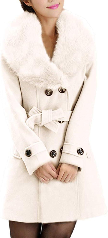 Hunzed women coat Button Winter Warm Belt Coat Long Sleeve Woolen Coat Woolen Coat