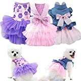 Sebaoyu Puppy Dresses for Small Dogs Girl 3 Pack Summer Dog Clothes Outfit Apparel Female Cute Cat Skirt Pup Tutu Pink Yorkie Clothing Breathable Pet Dress for French Bulldog Chihuahua (Small)