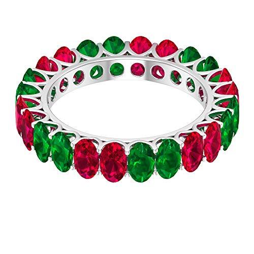 Anillo clásico de eternidad, 4,2 quilates, 5 x 3 mm, anillo de rubí, anillo de esmeralda de forma ovalada de 3 quilates, anillo de piedra natal, antiguo anillo de boda, 14K Oro blanco, Size:EU 63