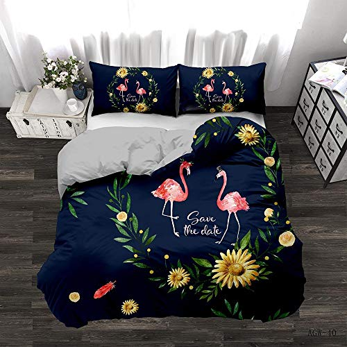 Duvet Cover Set King bed(86.6x94.5 inch) Blue Bedding pink flamingo Printed Ultra Soft Hypoallergenic Microfiber with Zipper Closure + 2 Pillowcases 20x29.5 inch