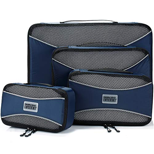 PRO Packing Cubes for Travel | 4-Piece Luggage Organiser Bags Set | Premium Quality Ultralight Travel Cubes for Packing Suitcase, Carry-on, Bags and Backpack - Marine Blue