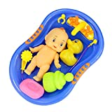 Vococal - 6 Piezas Muñeca Bebé Plástico en Bañera Tina de Baño con Set de Accesorios de Ducha /...