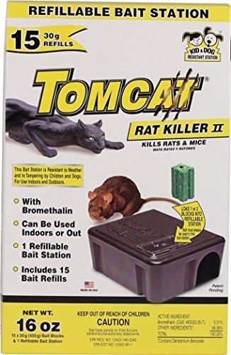Motomco 008-22814 198883 Tomcat Rat Killer II Bait Station, 15 Refill, Black