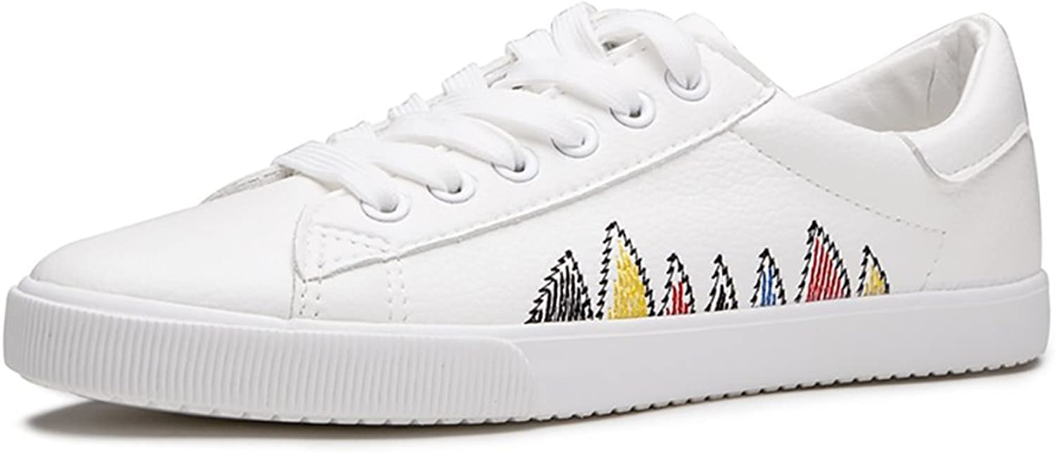 Women Fashion Simple White Lace-up shoes Student Casual Flat shoes (color   White, Size   35)