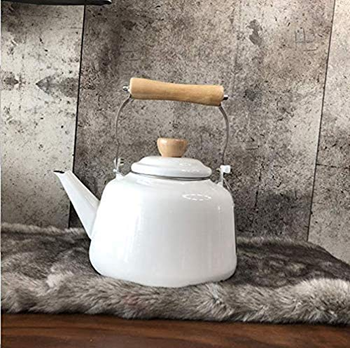 HZYDD Gusseisen Set Kessel Kessel Weiß 1.6L Eindickung Hot Water Pot Cooker Gas-Hauptdekoration Präsens