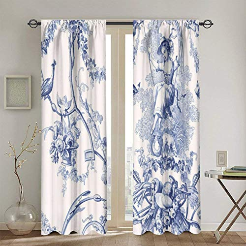 French Country Toile Print Blackout Curtains,Curtain Panel,Toilet-Bound Thermal Insulated Drapes 2 Panels Blind 90% Blackout for Bedroom Living Room 52x72 Inch