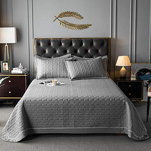 Juego de colcha de cama, funda de edredón acolchada de color puro, juego de 3 piezas de cómodo edredón de verano con aire acondicionado fino, sábana, manta de sofá, 2 fundas de almohada gris_2