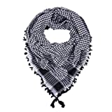 Premium Large Plaid Shemagh Square Scarf, Black Houndstooth