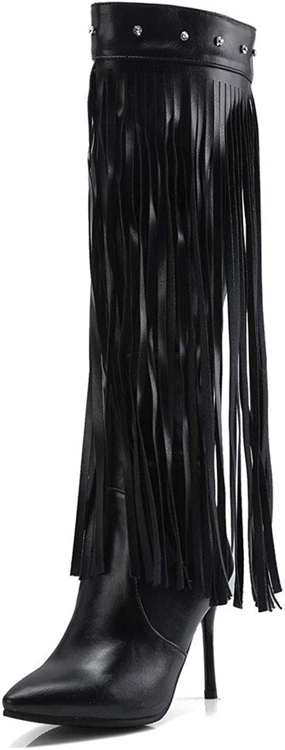 Fringed High Boots, High Heel Pointed Back Zipper Knee Boots Waterproof Platform Non-Slip Elastic Knight Boots PU Women's Long Tube shoes