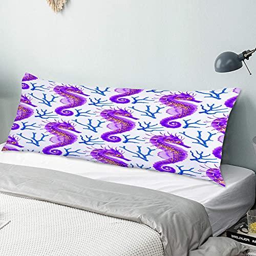 Funda de Almohada para el Cuerpo,Pez Azul Playa con Caballito De Mar Caballo Morado Algas,Funda de cojín Larga con Cremalleras para sofá de Dormitorio en casa (20x54 Pulgadas)