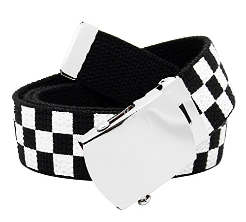 Girl's School Uniform Silver Slider Buckle with Canvas Web Belt Medium Checkered