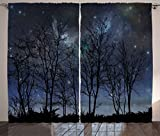 Ambesonne Night Sky Curtains, Deep Spooky Forest Branches Cosmos Galaxy Stars Clusters Astronomy View, Living Room Bedroom Window Drapes 2 Panel Set, 108' X 63', Night Blue