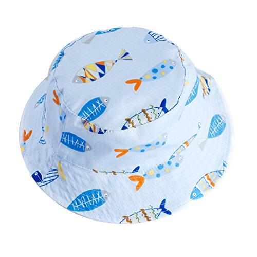 iiSPORT Baby Sonnenhut Junge Fisherhut Kinderhut mit Fisch-Muster, UV-Schutz 50/ Kopfumfang 46-52CM, Beidseitig Tragbar Wende-Hut