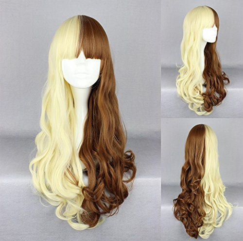 Ladieshair Cosplay Perücke in braun und blond wellig ca. 65cm