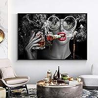 女性のキャンバスの絵画Cuadrosのポスターとプリントリビングルームの装飾のためのスカンジナビアのモダンな壁の芸術の写真壁画42X60cmフレームレス