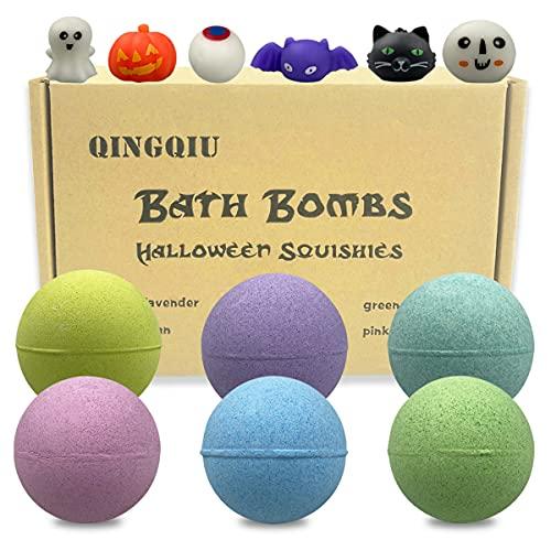 QINGQIU 6 Pack Halloween Bath Bombs with Halloween Squishy Toys Inside for Kids Girls Boys Halloween...