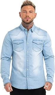 GINGTTO Men's Denim Shirts Long Sleeve Snap Up Work Shirt